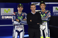 Lin Jarvis with Jorge Lorenzo and Valentino Rossi