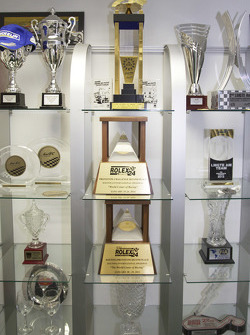 Various 8Star Motorsports trophies in the team's workshops