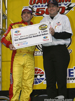 Drivers presentation: Brendan Gaughan receives a check
