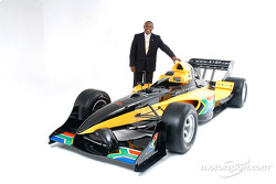 Mr Tokyo Sexwale (RSA), the South African franchise partner, with the South African liveried Lola A1 Grand Prix car