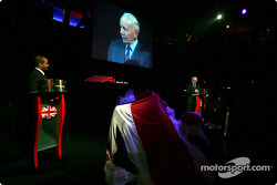 Sheikh Maktoum Hasher Maktoum Al Maktoum (UAE) CEO and President of A1 Grand Prix and John Surtees (GBR) Spokesperson for the UK National Seat Holders on stage