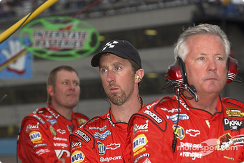 Bud Chevrolet crew members watch the end of the race