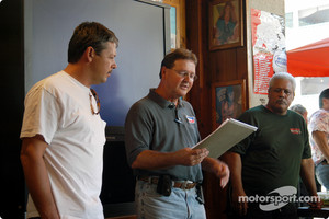 Charles Davis, Jr., USAC's Hal Burns, and Hawaii Motor Speedway owner/race promoter Jerry Apana