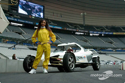 A charming grid girl with a ROC car