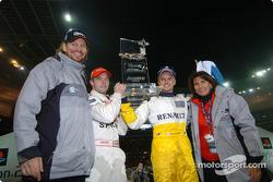 The Race of Champions 2004 winner Heikki Kovalainen with runner-up Sébastien Loeb, Fredrik Johnsson and Michèle Mouton