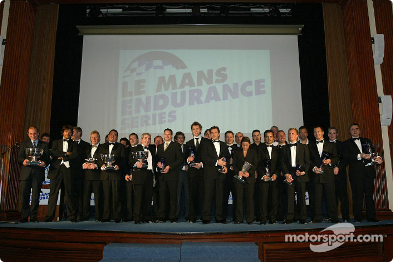 Family picture at the Le Mans Endurance Series 2004 prize giving ceremony