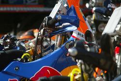 KTM team testing: KTM Repsol Red Bull bike at service area