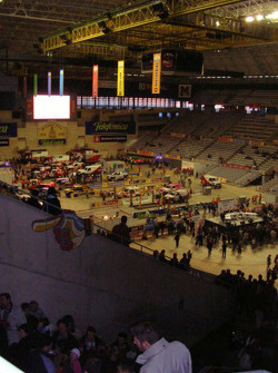 Overall view of the main hall of the Palau Sant Jordi in Barcelona
