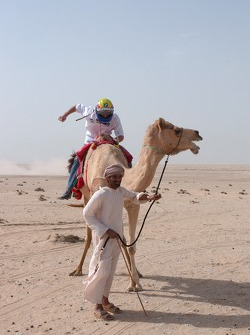 Mark Webber on a camel