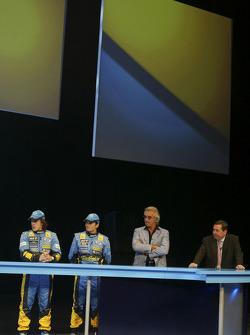 Fernando Alonso, Giancarlo Fisichella, Flavio Briatore and Patrick Faure