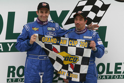 Victory lane: race winners Ian James and Tom Nastasi celebrate