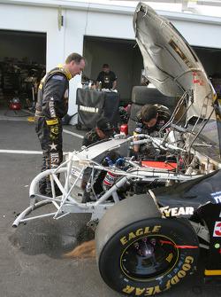 Wrecked car of Joe Nemechek