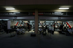 Minardi garage into the night