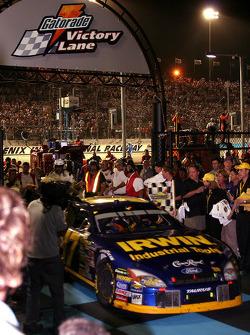 Race winner Kurt Busch enters victory lane
