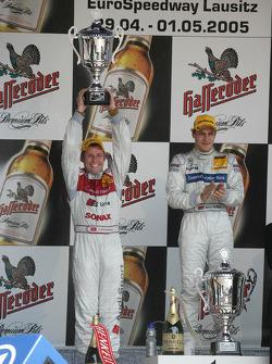 Podium: Tom Kristensen celebrates second place finish
