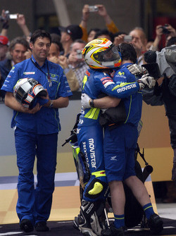 Marco Melandri celebrates third place finish