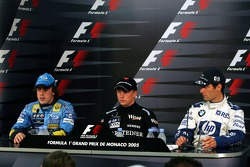 Press conference: provisional pole winner Kimi Raikkonen with Fernando Alonso and Mark Webber