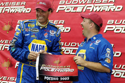 Pole winner Michael Waltrip celebrates with crew chief Tony Eury Jr.