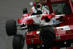 Wrecked car of Ralf Schumacher