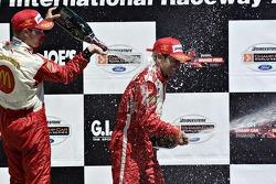Sébastien Bourdais and Cristiano da Matta on the podium