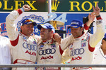 P1 podium: class and overall winners JJ Lehto, Tom Kristensen and Marco Werner celebrate