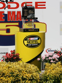 Victory lane: the winner's trophy