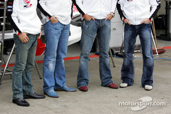 Shoes of  Takuma Sato, Enrique Bernoldi, Jenson Button and Anthony Davidson