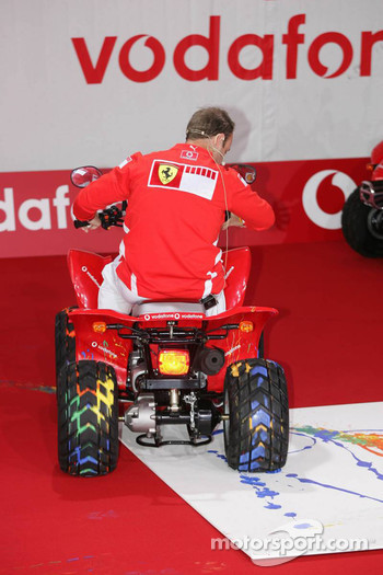 Vodafone event at Hockenheim Talhaus: Rubens Barrichello paints with a quad bike
