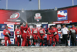 Victory lane: race winner Sam Hornish Jr. celebrates with his team