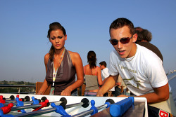 Christian Klien plays table football
