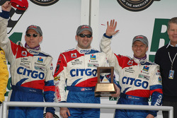 Victory lane: Andy Wallace, Jan Lammers and Tony Stewart