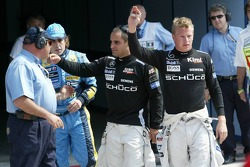 Kimi Raikkonen celebrates fastest lap with pole winner Juan Pablo Montoya and Fernando Alonso