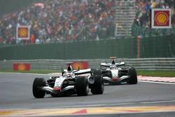 Juan Pablo Montoya leads Kimi Raikkonen