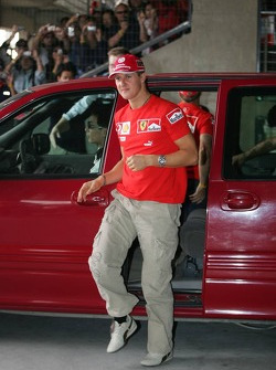 Michael Schumacher arrives at Ferrari fans event