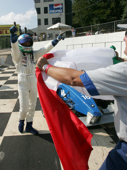 Race winner Edoardo Piscopo celebrates