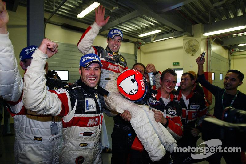 Race winners Gabriele Gardel and Pedro Lamy celebrate