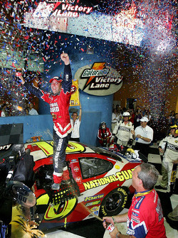 Victory lane: race winner Greg Biffle celebrates