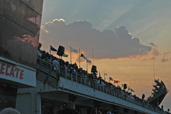 Sunset over grand stand