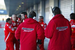 Bridgestone engineers work with Ferrari engineers