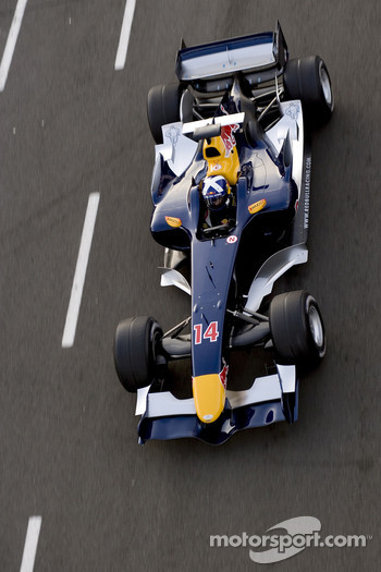 David Coulthard tests the new Red Bull Racing's Ferrari-powered RB2