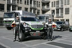 Kwikpower Mercedes-Benz Team: Ellen Lohr and Detlef Ruf pose with the Kwikpower Mercedes-Benz vehicles