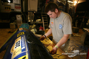Volkswagen Motorsport team member at work