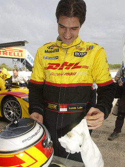 Lucas Luhr prepares to get into the Porsche RS Spyder