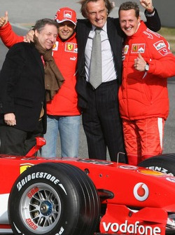 Jean Todt, Felipe Massa, Luca di Montezemelo and Michael Schumacher with the new Ferrari 248 F1