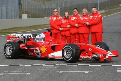 Paolo Martinelli, Gilles Simon, Also Costa, Rory Byrne and Ross Brawn with the Ferrari 248 F1