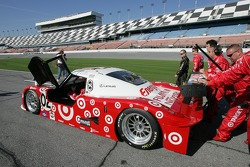 Target Chip Ganassi team push the #02 car to the starting grid