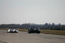 #1 Audi Sport North America Audi R10: Frank Biela passes #22 Team PTG BMW M3: Joey Hand, Justin Marks