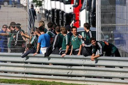 The Rapid Vienna football team watches test action