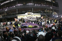 Overall view of victory lane celebration
