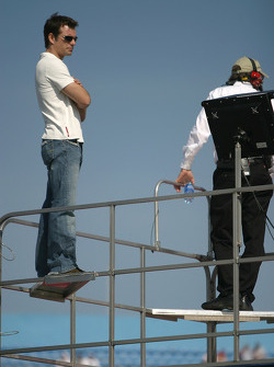 Jeff Gordon watches happy hour from atop transporter